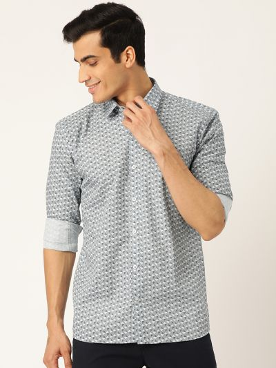 Sojanya (Since 1958), Mens Cotton Blue & OffWhite Printed Casual Shirt