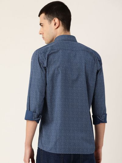 Sojanya (Since 1958), Mens Cotton Teal Blue & Grey Printed Casual Shirt