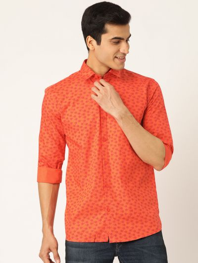 Sojanya (Since 1958), Mens Cotton Orange & Red Printed Casual Shirt