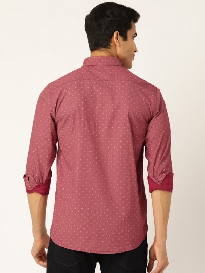 Sojanya (Since 1958), Mens Cotton Coral Red & Beige Printed Casual Shirt