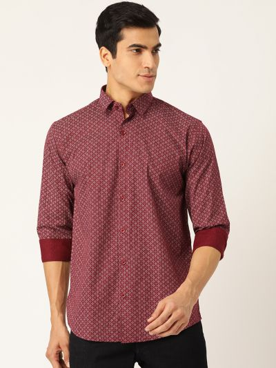 Sojanya (Since 1958), Mens Cotton Burgundy & White Printed Casual Shirt