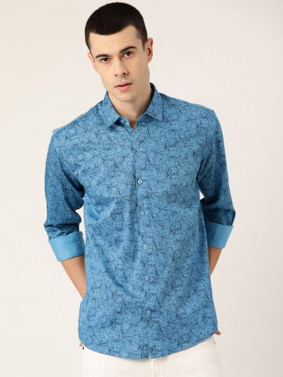 Sojanya (Since 1958), Mens Cotton Cobalt Blue & Black Printed Casual Shirt
