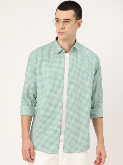 Sojanya (Since 1958), Mens Cotton Sea Green & Blue Printed Casual Shirt