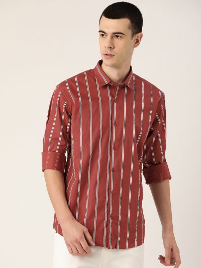 Sojanya (Since 1958), Mens Cotton Dark Rust & White Printed Casual Shirt