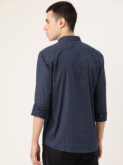 Sojanya (Since 1958), Mens Cotton Navy Blue & Multi Printed Casual Shirt