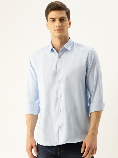 Sojanya (Since 1958), Men's Cotton Sky Blue Self Design Casual Shirt