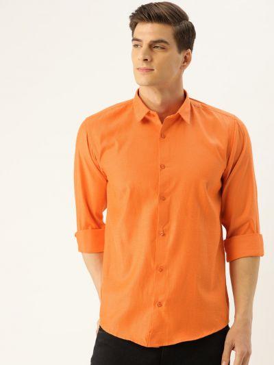 Sojanya (Since 1958), Men's Cotton Orange Self Design Casual Shirt