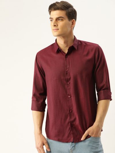 Sojanya (Since 1958), Men's Cotton Burgundy Self Design Casual Shirt