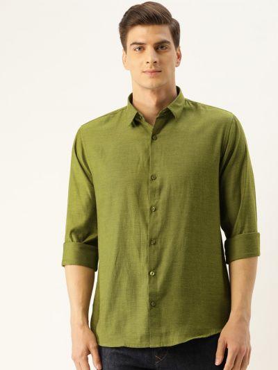 Sojanya (Since 1958), Men's Cotton Moss Green Self Design Casual Shirt