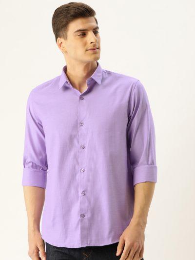 Sojanya (Since 1958), Men's Cotton Purple Self Design Casual Shirt
