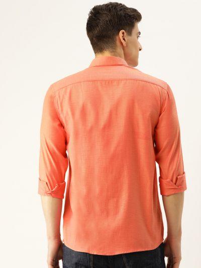 Sojanya (Since 1958), Men's Cotton Green Self Design Casual Shirt