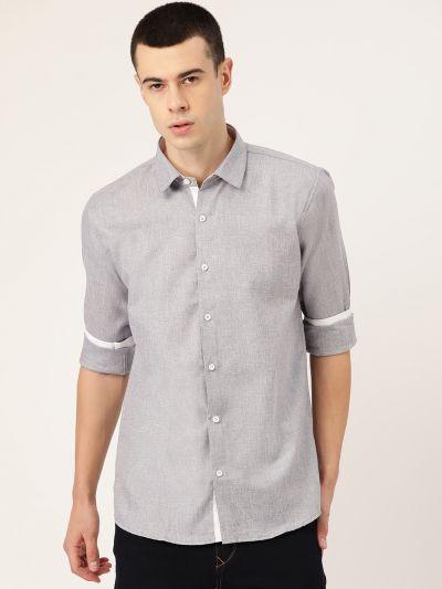 Sojanya (Since 1958), Men's Cotton Linen Light Grey Casual Shirt