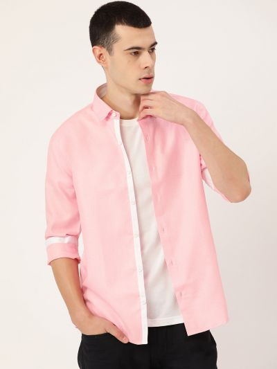 Sojanya (Since 1958), Men's Cotton Linen Pink Casual Shirt