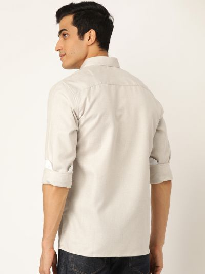 Sojanya (Since 1958), Men's Cotton Linen Light Brown Casual Shirt