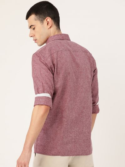 Sojanya (Since 1958), Men's Cotton Linen Maroon Casual Shirt