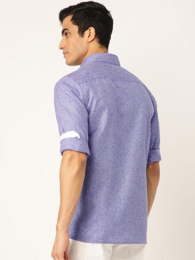Sojanya (Since 1958), Men's Cotton Linen Indigo Blue Casual Shirt