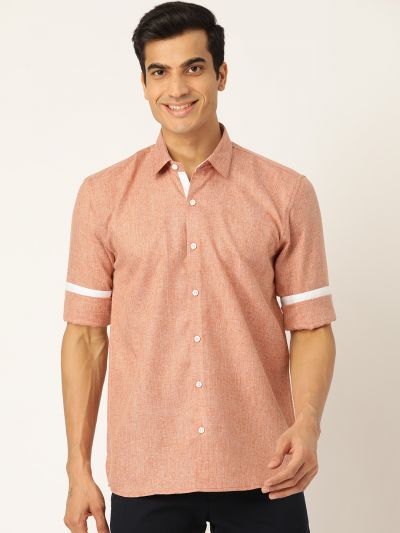 Sojanya (Since 1958), Men's Cotton Linen Rust Casual Shirt