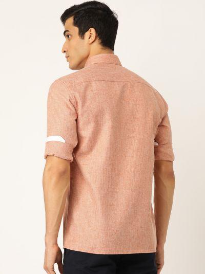 Sojanya (Since 1958), Men's Cotton Linen Rust Casual Shirt