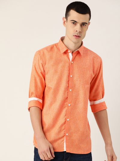 Sojanya (Since 1958), Men's Cotton Linen Orange Casual Shirt