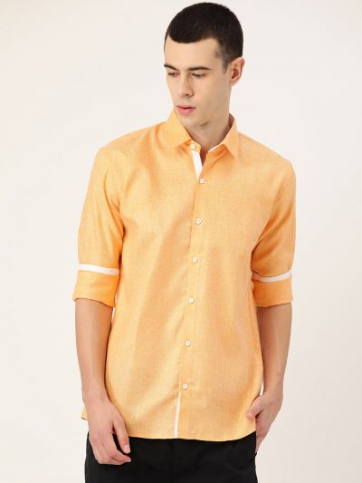 Sojanya (Since 1958), Men's Cotton Linen Dark Yellow Casual Shirt