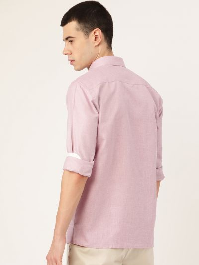 Sojanya (Since 1958), Men's Cotton Linen Light Purple Casual Shirt