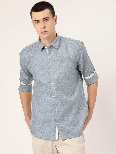 Sojanya (Since 1958), Men's Cotton Linen Teal Green Casual Shirt