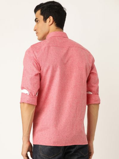 Sojanya (Since 1958), Men's Cotton Linen Coral Casual Shirt
