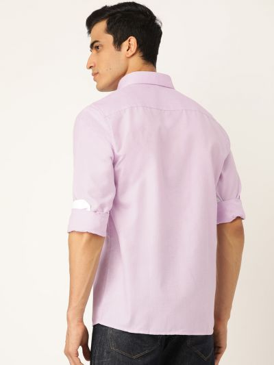 Sojanya (Since 1958), Men's Cotton Linen Purple Casual Shirt