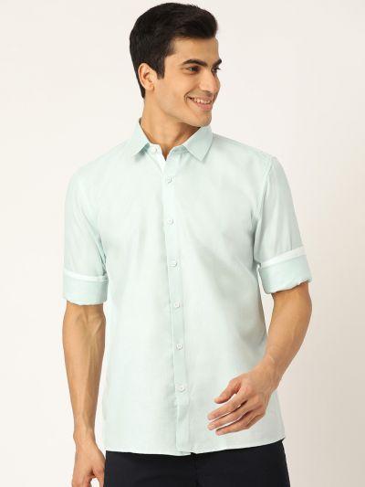 Sojanya (Since 1958), Men's Cotton Linen Sea Green Casual Shirt