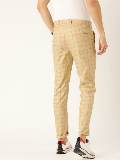 Sojanya (Since 1958) Men's Cotton Blend Beige & Green Checked Casual Trousers