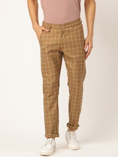 Sojanya (Since 1958) Men's Cotton Blend Khaki & OffWhite Checked Casual Trousers