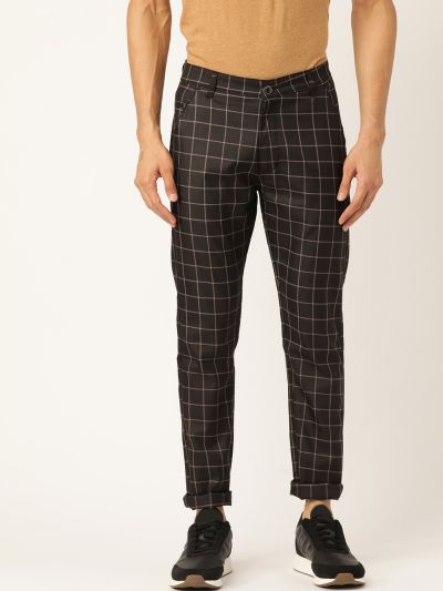Sojanya (Since 1958) Men's Cotton Blend Black & Beige Checked Casual Trousers
