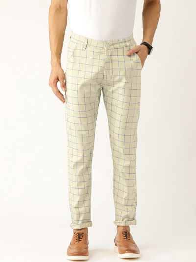 Sojanya (Since 1958) Men's Cotton Blend PistaGreen & Blue Checked Casual Trousers