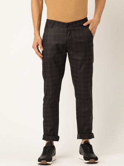 Sojanya (Since 1958) Men's Cotton Blend Black & Blue Checked Casual Trousers