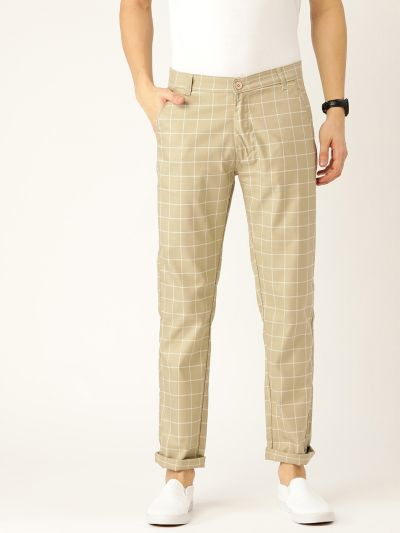 Sojanya (Since 1958) Men's Cotton Blend Dark Pista Green & Off White Checked Casual Trousers