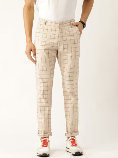 Sojanya (Since 1958) Men's Cotton Blend Light Beige & Green Checked Casual Trousers