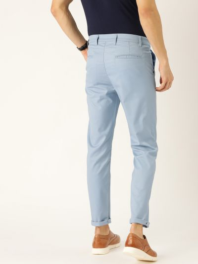 Sojanya (Since 1958) Men's Cotton Blend Blue Solid Casual Trousers
