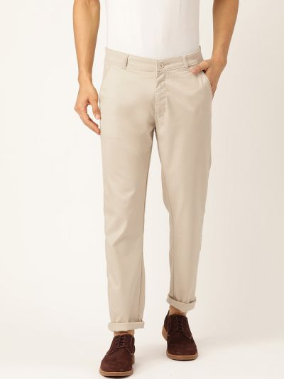 Sojanya (Since 1958) Men's Cotton Blend Beige Solid Casual Trousers