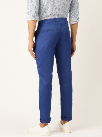 Sojanya (Since 1958) Men's Cotton Blend Royal Blue Solid Casual Trousers