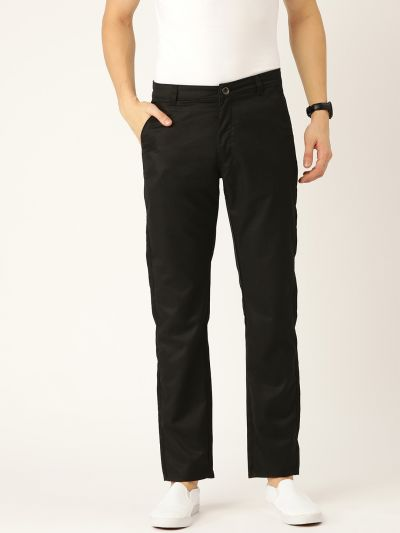 Sojanya (Since 1958) Men's Cotton Blend Black Solid Casual Trousers