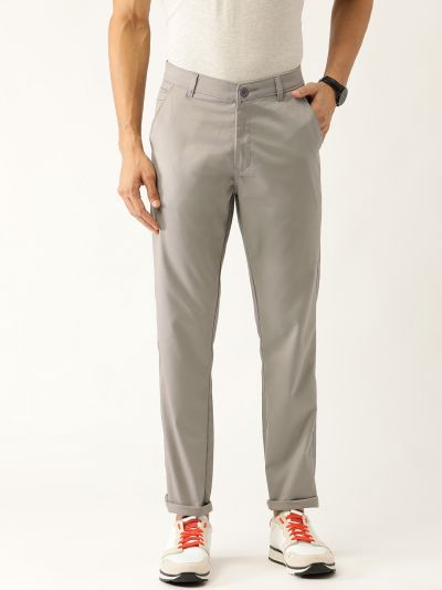 Sojanya (Since 1958) Men's Cotton Blend Grey Solid Casual Trousers