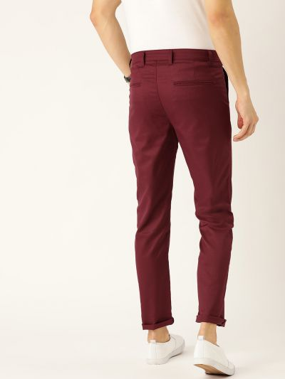 Sojanya (Since 1958) Men's Cotton Blend Burgundy Solid Casual Trousers