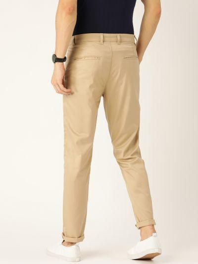 Sojanya (Since 1958) Men's Cotton Blend Khaki Solid Casual Trousers