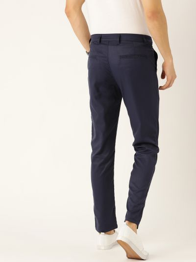 Sojanya (Since 1958) Men's Cotton Blend Navy Blue Solid Casual Trousers