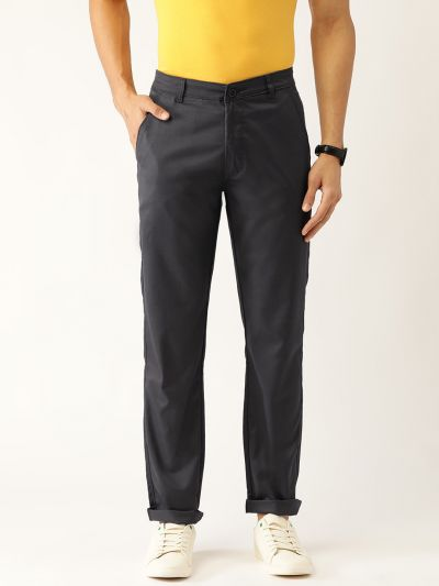 Sojanya (Since 1958) Men's Cotton Blend Charcoal Grey Solid Casual Trousers