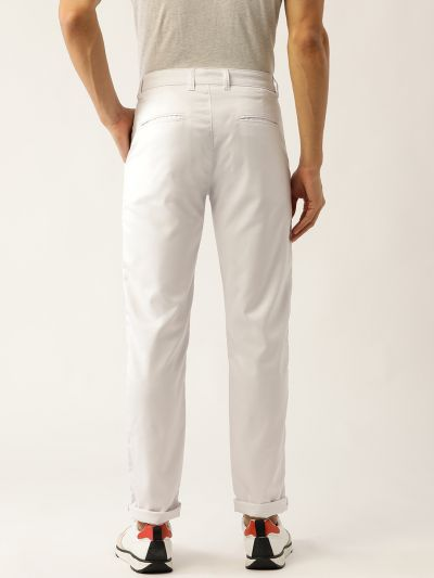 Sojanya (Since 1958) Men's Cotton Blend White Solid Casual Trousers