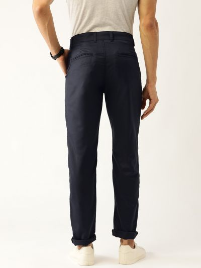 Sojanya (Since 1958) Men's Cotton Blend Dark Navy Blue Solid Casual Trousers
