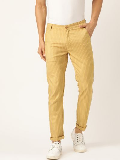 Sojanya (Since 1958) Men's Cotton Blend Gold & OffWhite Striped Casual Trousers