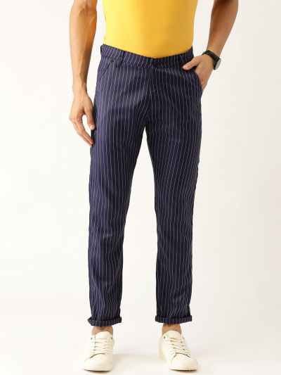 Sojanya (Since 1958) Men's Cotton Blend NavyBlue & OffWhite Striped Casual Trousers