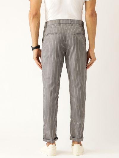 Sojanya (Since 1958) Men's Cotton Blend Grey & OffWhite Striped Casual Trousers